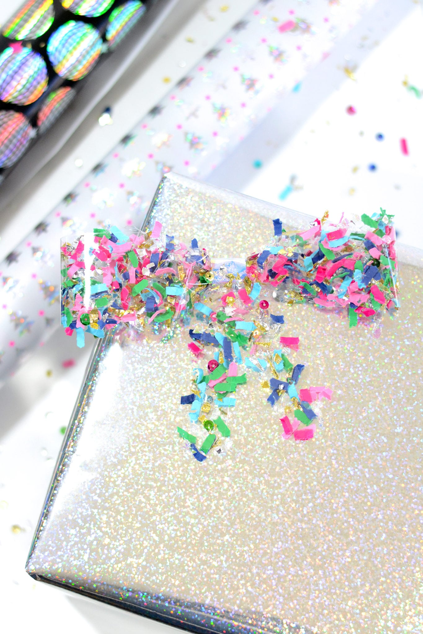 Make a simple confetti bow using clear tape!